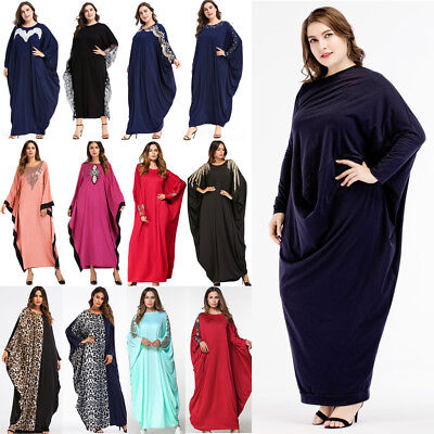 Dubai Abaya Muslim Women Dress Batwing Sleeve Loose Kaftan Islamic Cocktail Robe