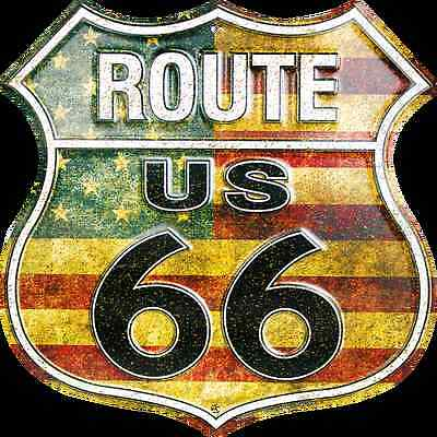 "US ROUTE 66 AMERICAN FLAG 12 X 12"" SHIELD METAL TIN EMBOSSED HIGHWAY SIGN GARAGE"
