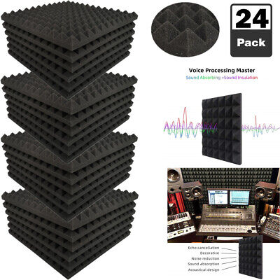 "24 Pack Acoustic Foam Pyramid Panels Studio Soundproofing Tiles 1"" X 12"" X 12"""