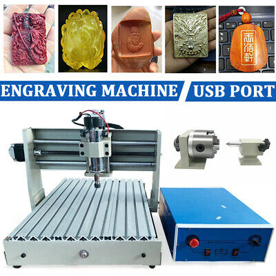 Usb 4-axis 3040 Cnc Router Engraver Woodworking Milling Cutting Machine 400w De