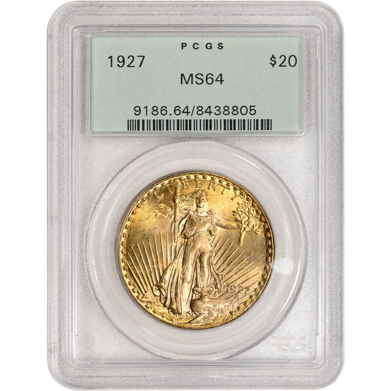 1927 US Gold $20 Saint-Gaudens Double Eagle - PCGS MS64