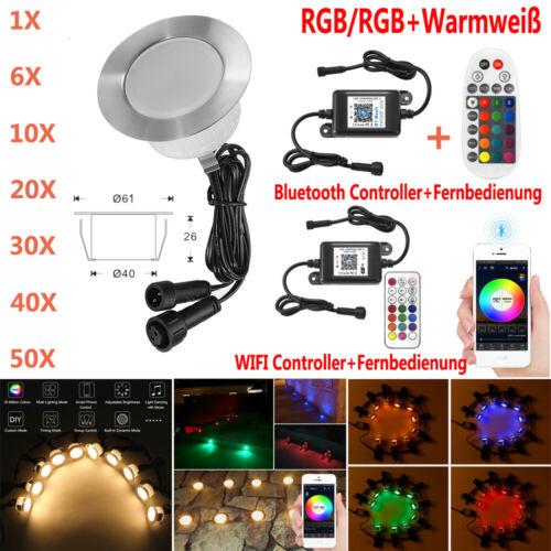 Ø61mm WIFI Bluetooth LED Boden Einbaustrahler Garten Treppe Leuchte Außen Lampe