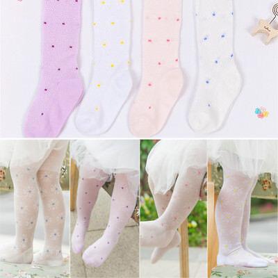Cute Kid Girls Cotton Mesh Flower Polka Dots Tights Pantyhose Ballet Dance Pants Cotton Polka Dots Tights