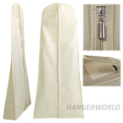 """IVORY BREATHABLE WEDDING PROM BALL GOWN DRESS STORAGE COVER BAG 72"""" HANGERWORLD"""