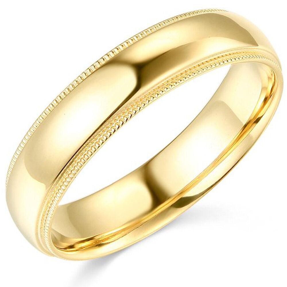 10K Yellow Gold 2mm 3mm 4mm 5mm 6mm Comfort Fit Men Women Milgrain Wedding Band 4