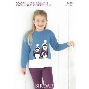 Sirdar Childrens Knitting Pattern - 2420 - Christmas Penguin Sweater Jumper