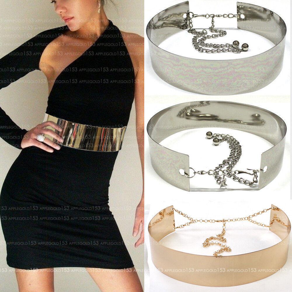 Women Wide Gold Full Metallic Bling Mirror Plate Waist Metal