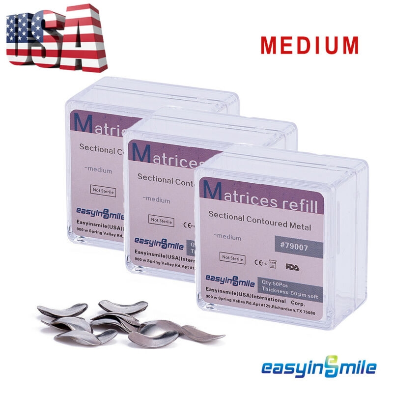 3Boxs Dental Metal Matrices Matrix Sectional Contoured Refill Package 50 μm soft