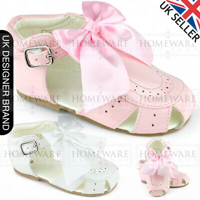 BABY GIRLS SPANISH BOW SANDALS PATENT SANDALS SPIDER HARD SOLE PINK WHITE UK3-8 Baby Pink Patent Schuhe