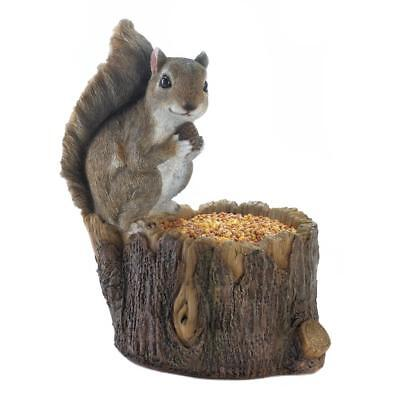 Squirrel log Bird Bath patio deck wild seed feeder outdoor garden statue decor