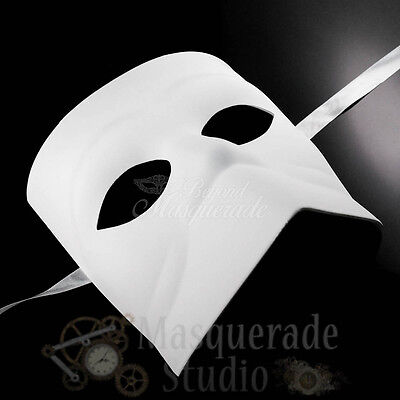 Mens Blank DIY Bauta Victorian Costume Theater Halloween Masquerade Mask [White]