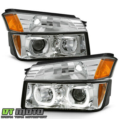 2002-2006 Chevy Avalanche 1500 Chrome LED Halo Projector Headlights+Bumper Lamps 2002 Chrome Led