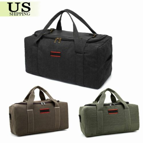 Men's Military Canvas Leather Gym Duffle Shoulder Bag Travel