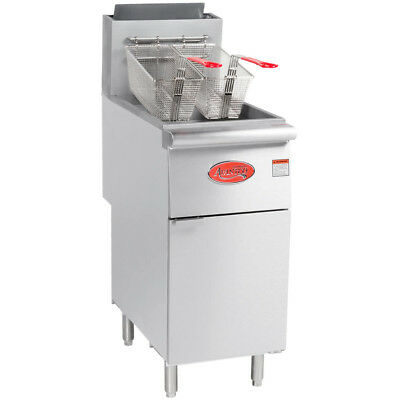Avantco 50 Lb Commercial Restaurant Natural Gas Stainless Steel Floor Deep Fryer