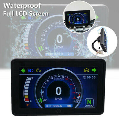 1x Motorcycle Full LCD Screen Speedometer Digital Odometer One-touch Conversion
