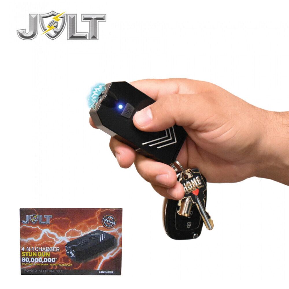 Jolt 4-N-1 80,000,000 Small STUN GUN Flashlight POWER BANK Loud Alarm - BLACK - $17.88