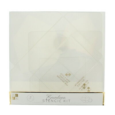 American Crafts DCWV Envelope Stencil Kit Pointed Flap - 3-Piece Clear Templates (Stencil Kit)