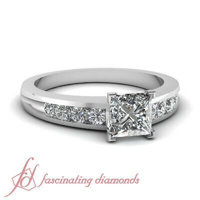 .85 Ct Princess Cut FLAWLESS Diamond Channel Band Engagement Rings For Women GIA