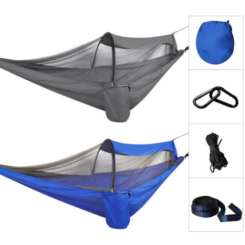 2 Person Double Outdoor Camping Hammock Travel Tent Hanging Bed Net Strap NEW