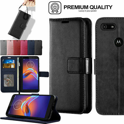 For Motorola Moto E6 Play Premium Flip Slim Leather Wallet Case Cover + Stand