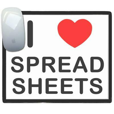 I Love Heart Spreadsheets - Thin Pictoral Plastic Mouse Pad Mat Badgebeast