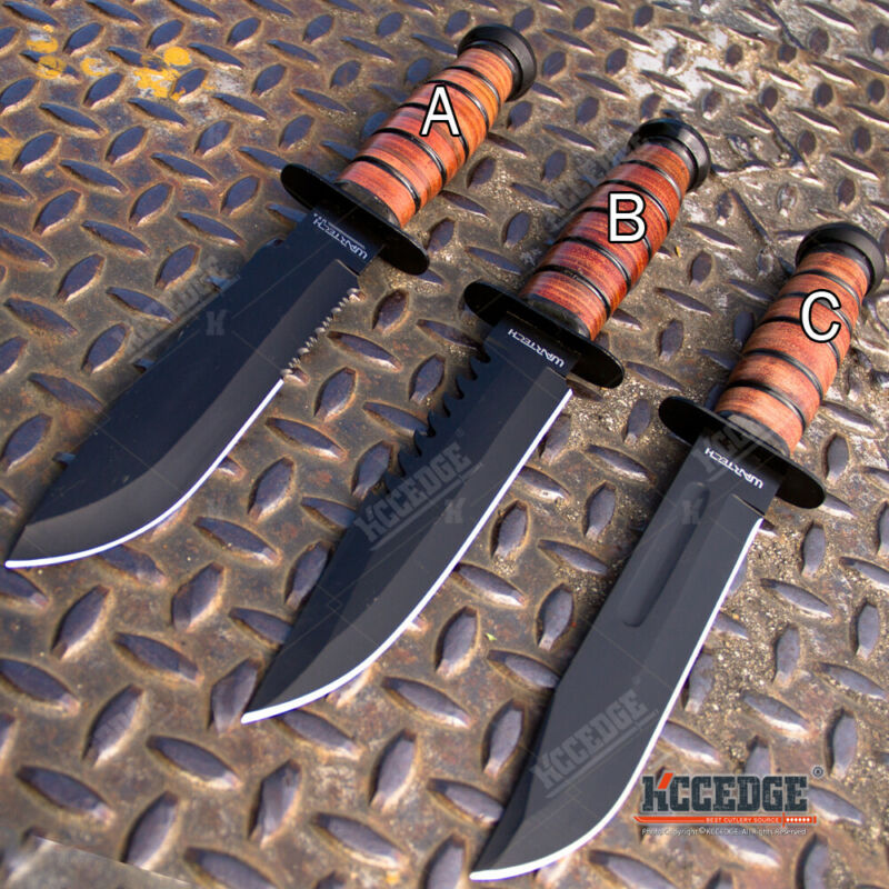"""12"""" MILITARY USMC Tactical Fixed Blade Hunting Knife w/ Comfortable Grip"""