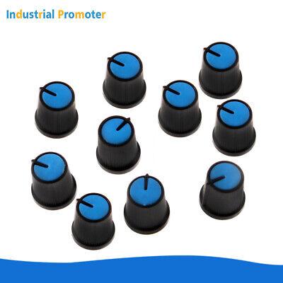 10PCS 6mm Shaft Hole Plastic Volume Control Potentiometer Knob Cap Black Blue