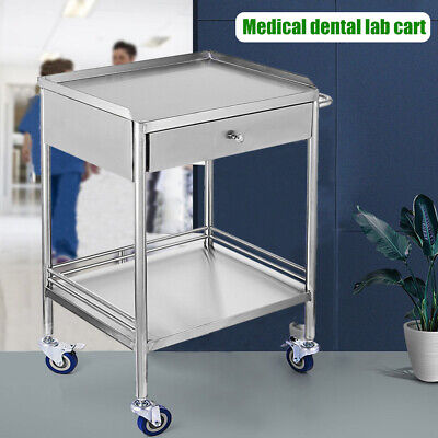 Hospital Stainless Steel Two Layers Serving Medical Cart Dental Lab Trolley New