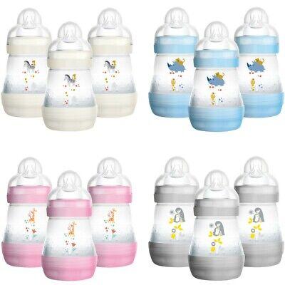 MAM 3x 160ml Babyflaschen Set Anti-Kolik mit Sterilisatorboden Sauger Gr. 1 Neu
