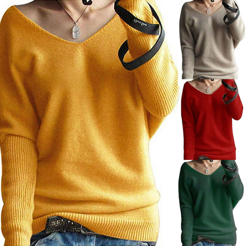Women Winter V-Neck Long Sleeve Knitted Sweater Jumper Pullover Tops Knitwear US