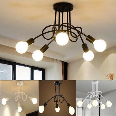 3-5 Head Industrial Iron Flush Mount Ceiling Retro Pendant Chandelier Light -