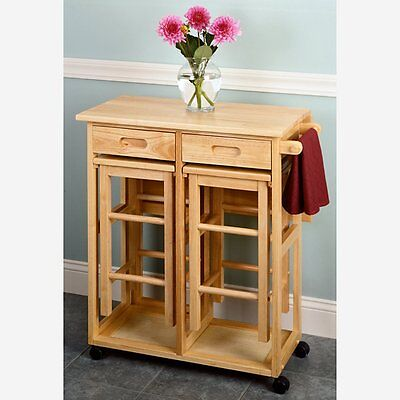 Winsome Drop Leaf Kitchen Island with 2 Square Stools, Natural