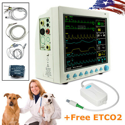 Cms8000 Vet Veterinary Patient Monitor Capnograph Vital Signs 7 Parameter Etco2