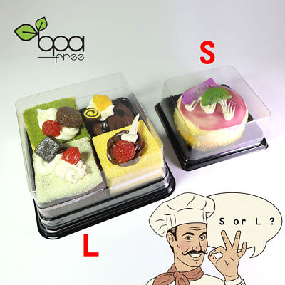 50/100 Square Clear Food-Safe PET Black Base Mini Cake Take Out Container Box DD](Takeout Box)