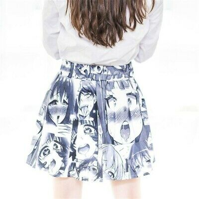 Ahegao Face Pleated Skirt Japan Harajuku Anime Funny Costume Girl Dress