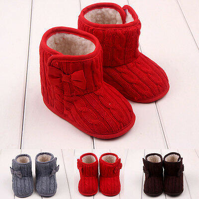 Infants Baby Girls Shoes Soft Bowknot Shoes Sole Newborn Kids Winter Warm Boots