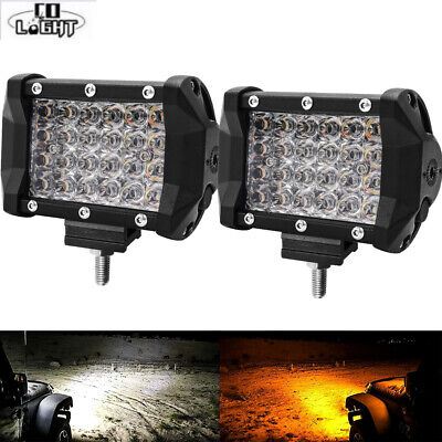 2x 4'' Dual Color High Output White Amber LED POD light Changing Flasher Strobe