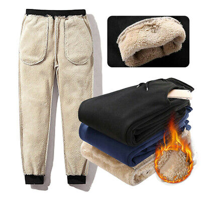 Mens Jogger Heavy Weight Fleece Cargo Pocket Sweat Pants Workout Loose Trousers