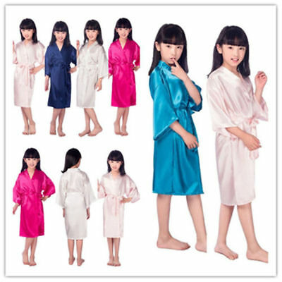 Child Silk Satin Kimono Robes Bathrobe Sleepwear Wedding Flower Girl Night Dress (Childrens Robes)