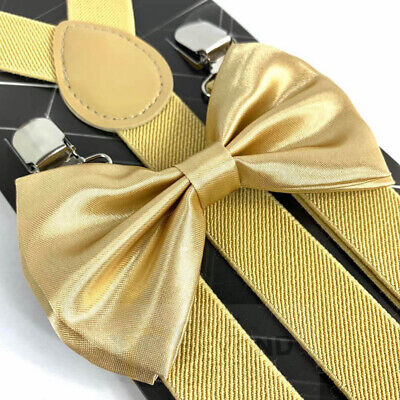 Suspender and Bow Tie Adults Men Champagne Gold Wedding Formal Wear Accessories - Gold Suspenders And Bowtie