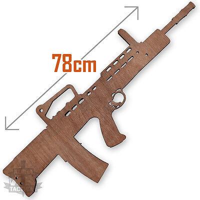 BRITISH ARMY SA80 RIFLE FULL SIZE WOODEN TRAINING DRILL GUN L85A2 LAZER CUT
