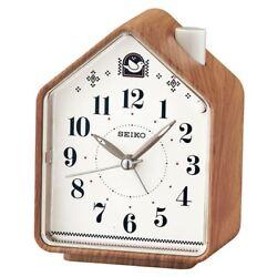 Seiko QHP005A Bedside 2 Bird Songs / Beep Wood Effect Analogue Quiet Alarm Clock