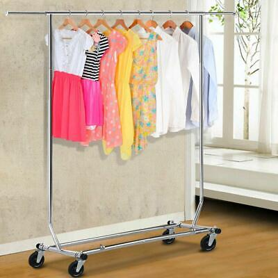 Portable Single-bar Steel Adjustable Clothing Garment Rolling Clothes Rack Us