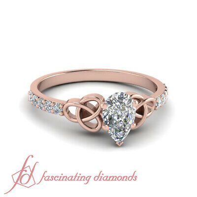 .85 Ct GIA Certified Pear Shaped And Round Diamond 14K Rose Gold Engagement Ring