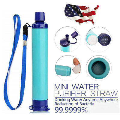 Portable Water Filter Straw Purifier Camping Emergency Gear Survival Tool Blue