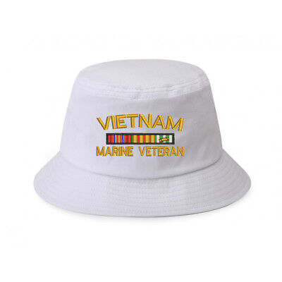 100% Cotton White Bucket Cap Hat VIETNAM MARINE USMC VETERAN RIBBON