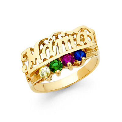 Ladies 14k Yellow Real Gold CZ Gem Birthstone Mothers Day Mom  Mama Ring -