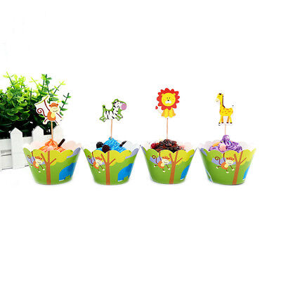 Children Jungle Animal Birthday party Cupcake Decoration 24Pcs Wrappers&Toppers ()