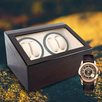 Deluxe 4+6 Automatic Rotation Wood Watch Winder Storage Display Case Box Xmas US Deluxe Wood Watch Winder