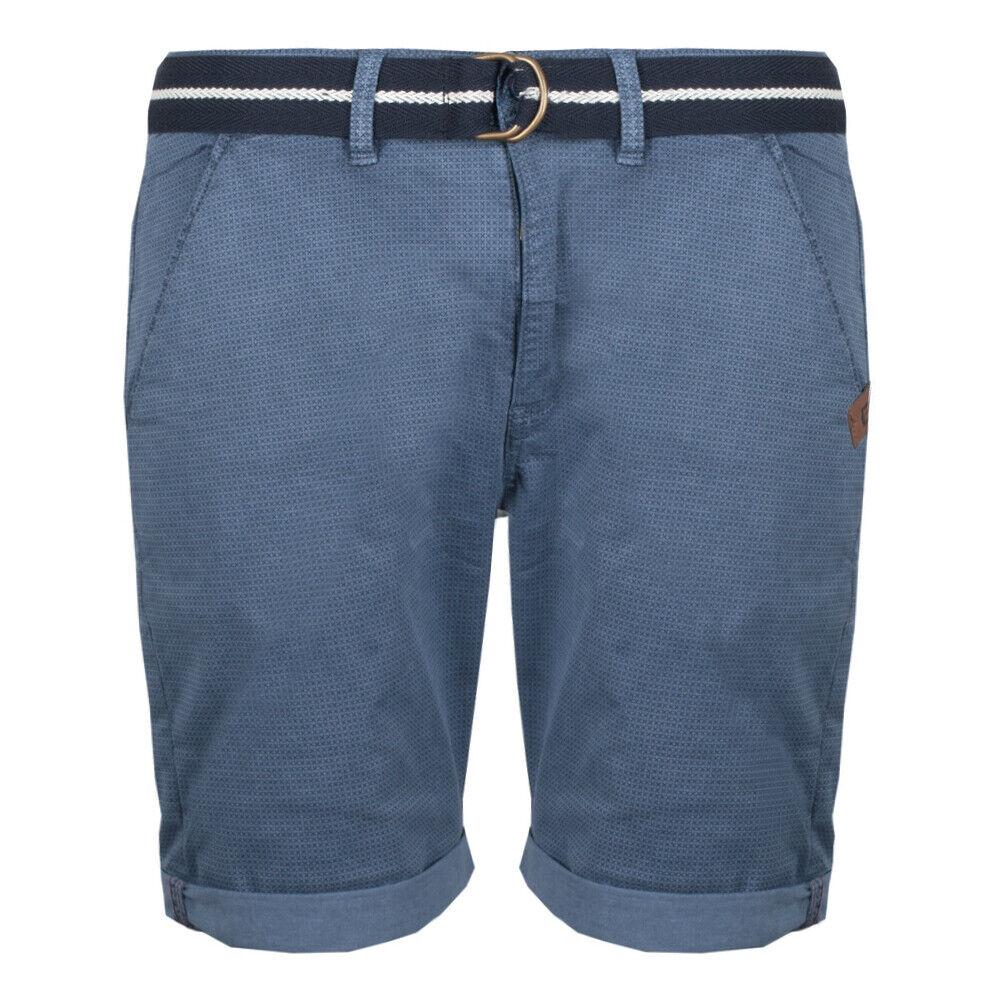 Indicode Herren Chino Shorts Goddard kurze Hose mit Gürtel China Blue (blau)